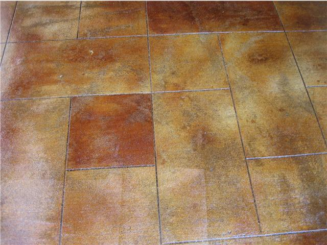 Multi-color acid stains with stone cut pattern