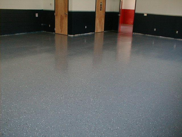 Rental facility w/ chipped epoxy floor